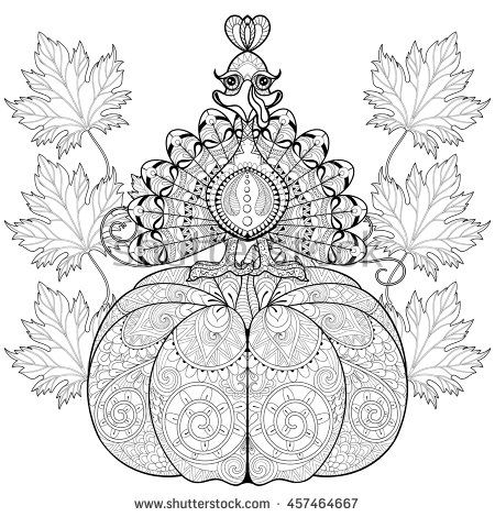dltk coloring pages fall turkey | Zentangle stylized Turkey on Pumpkin with autumn leaves ...