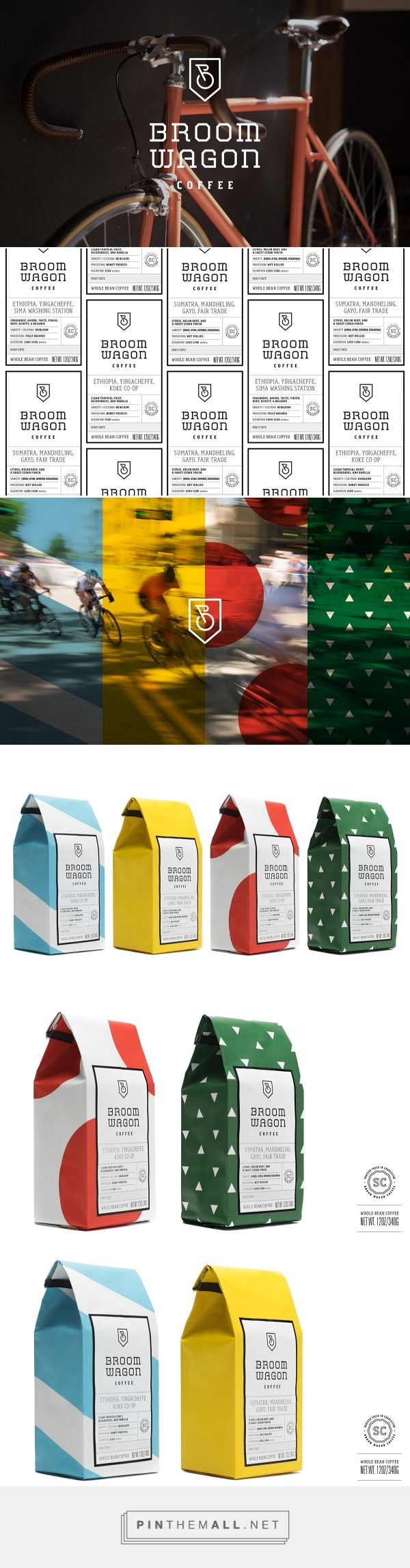 Branding packaging and typography for broom wagon coffee brand packaging on behance by cody