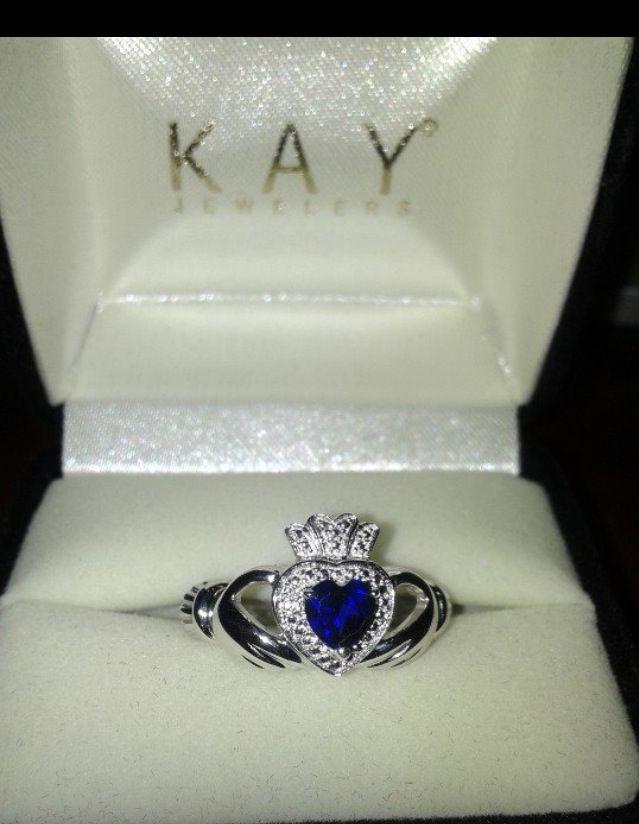 Sapphire Claddagh Anniversary ring