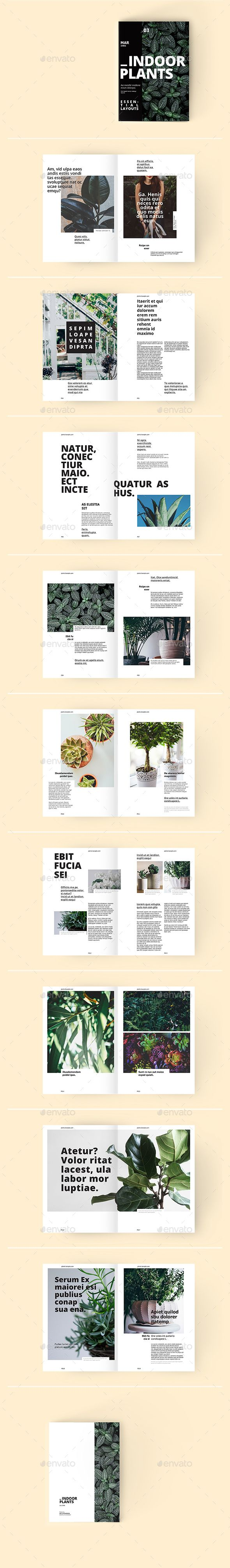 Indoor Plants - A Magazine Template by Mr_ChowMow A Set of trendy minimalistic InDesign page layouts that will help you create a modern looking magazine. Grid based A4 template sui
