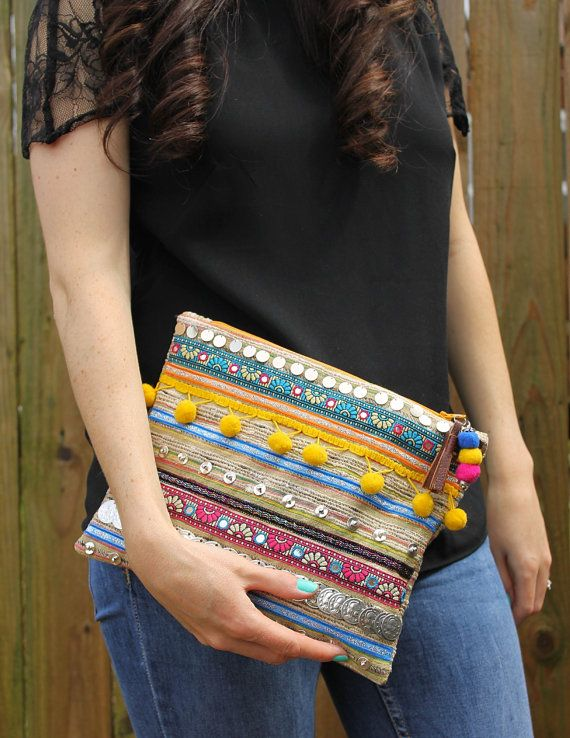 Ethnic Embellished Clutch Bag by RENIQLO on Etsy, £25.00