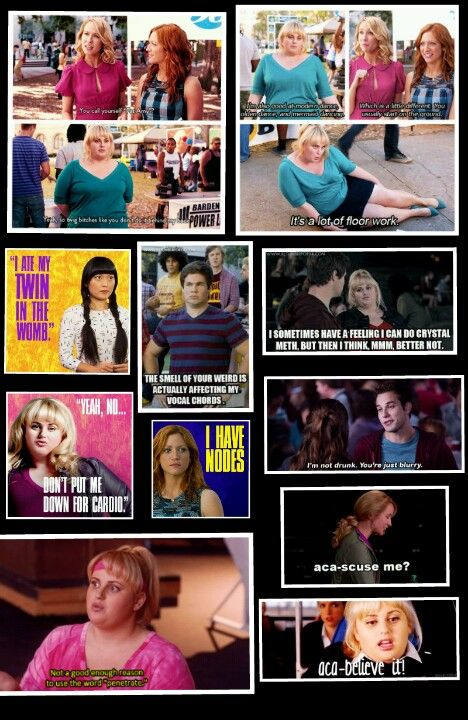 """the first two sections are:  1.) You call yourself """"Fat Amy?""""  Yeah, so twig  like you don't say it behind my back.  2.) I can sing, but I'm also good at modern dance, olden dance, and mermaid dancing, which is a little different which you usually sit on the ground.  It's a lot of floor work"""