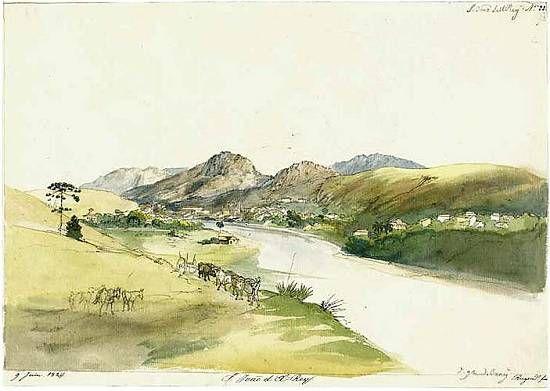 Vista de Barbacena (em 1824, por Johann Moritz Rugendas usando aquarela e tinta, à pena)