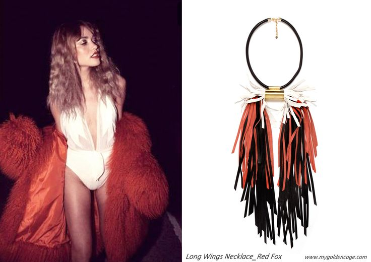 Long Wings Necklace_Red Fox ELEMENTS Collection 2016/17 Leathe rjewellery Brass element American hustle movie Inspiration