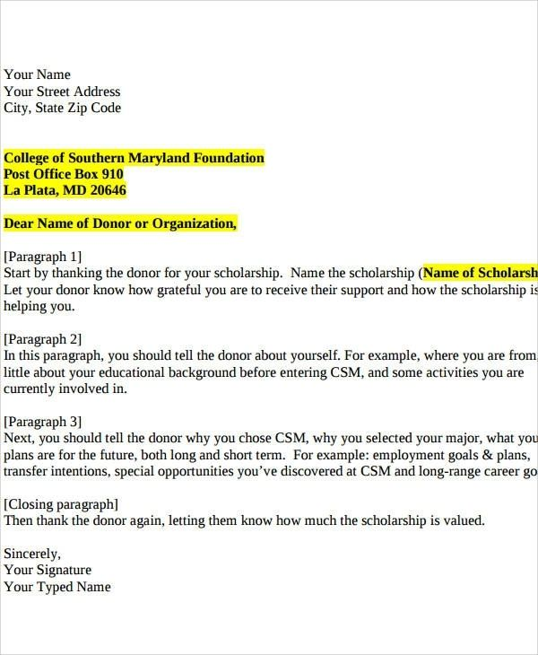 Scholarship Donor Thank You Letter