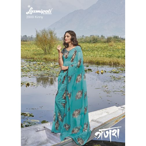 Buy Sea Green coloured Georgette Saree from #Laxmipati where you will be find unique and latest designs that fits in current fashion status.   Mobile no : (+91) 93760 14032 (Call or Whatsapp) E-mail : info@laxmipati.com