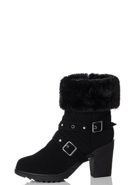 8fe33260ece5 Black Fur Trim Eyelet Detail Block Heel Ankle Boots - Quiz Clothing ...