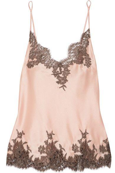 I.D. Sarrieri - Hôtel Particulier Chantilly Lace-trimmed Silk-blend Satin Camisole - Blush #commissionlink #ad