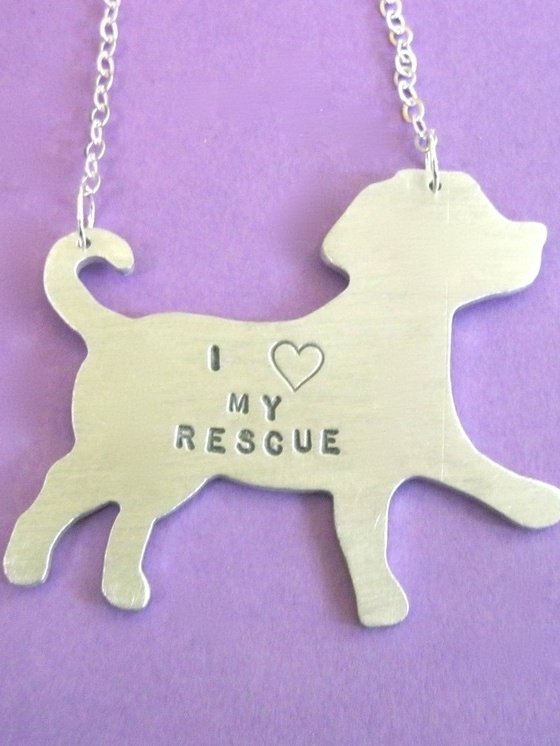 I Heart my Rescue Puppy  necklace is a puppy shape made out of recycled aluminum which is a very lightweight metal!