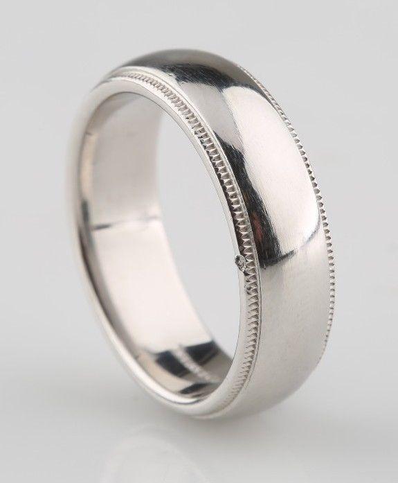 Tiffany Co Mens Platinum Milgrain Wedding Band Ring 6mm
