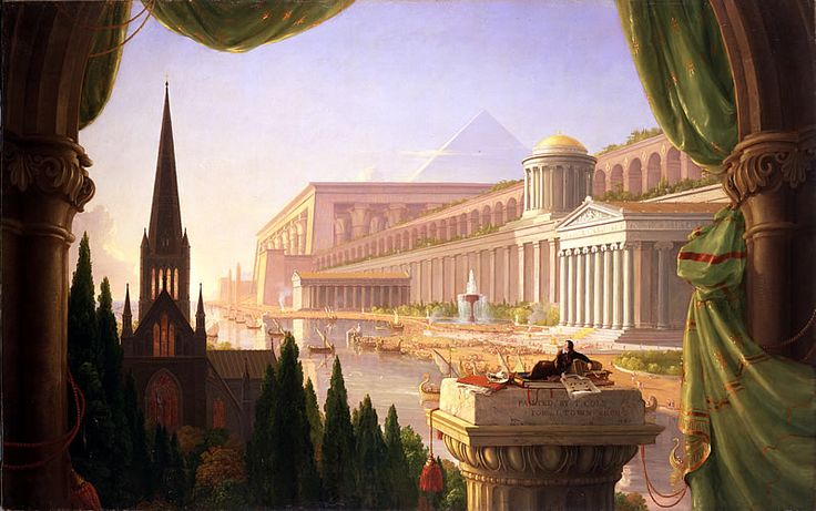 Thomas Cole's _The Architect's Dream_ from explorethomascole.org is the inspiration for what site specific work in River Crossings? #RiverCrossingsArt