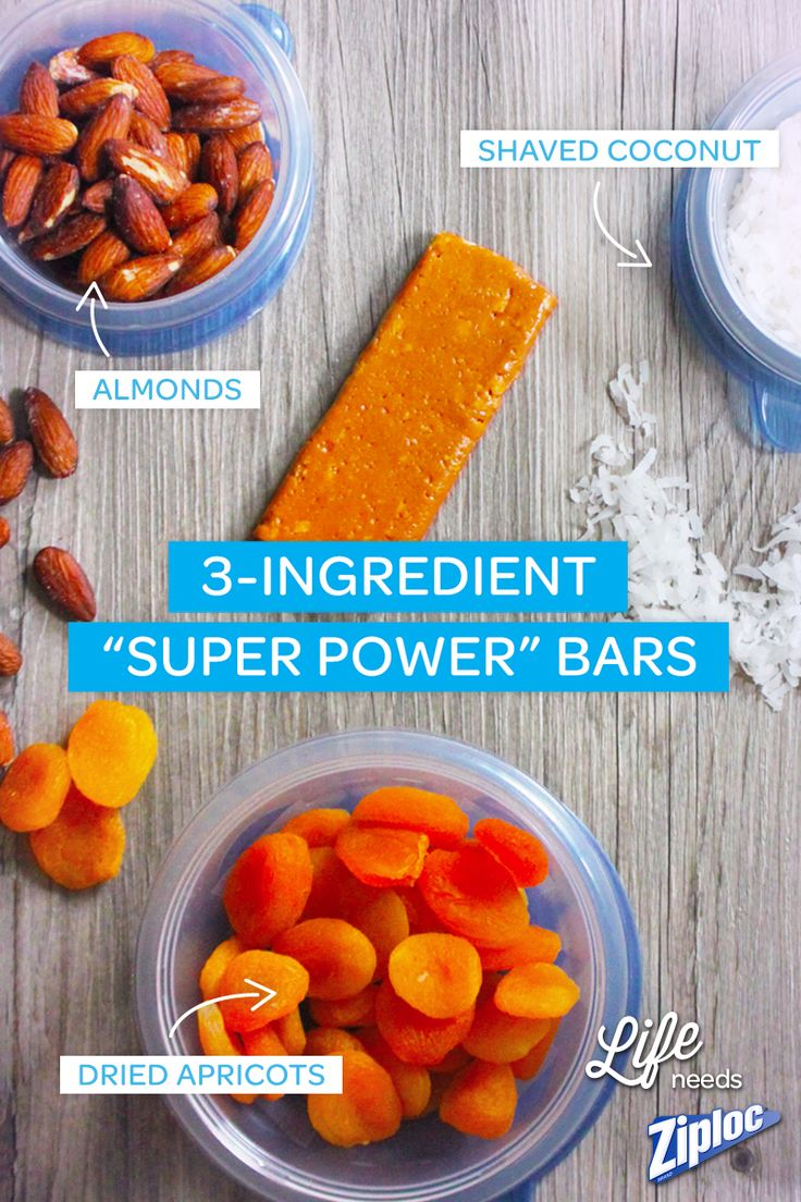 "It's not hard to stay healthy with 3-ingredient ""Super Power"" Bars. Made with almonds, shaved coconut and dried apricot, it's a great snack idea for home, work, or travel. Toss them in a Ziploc® bag and go!"