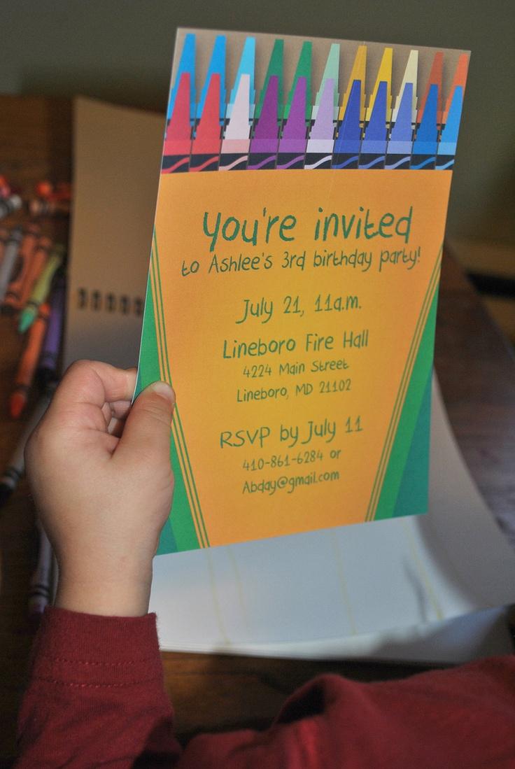 printable colorful crayon kid birthday party invitation