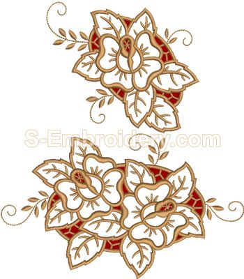 Cutwork machine embroidery - 10552 Roses cutwork lace embroidery set