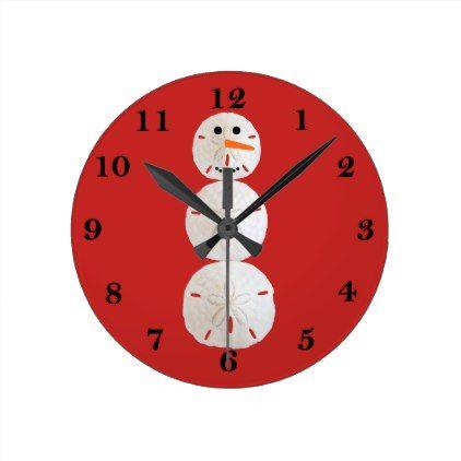 Sand Dollar Snowman Round Clock - holidays diy custom design cyo holiday family