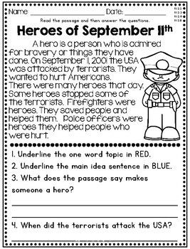 Heroes of September 11th non fiction reading passage for 2nd and 3rd grade. Text based evidence questions.