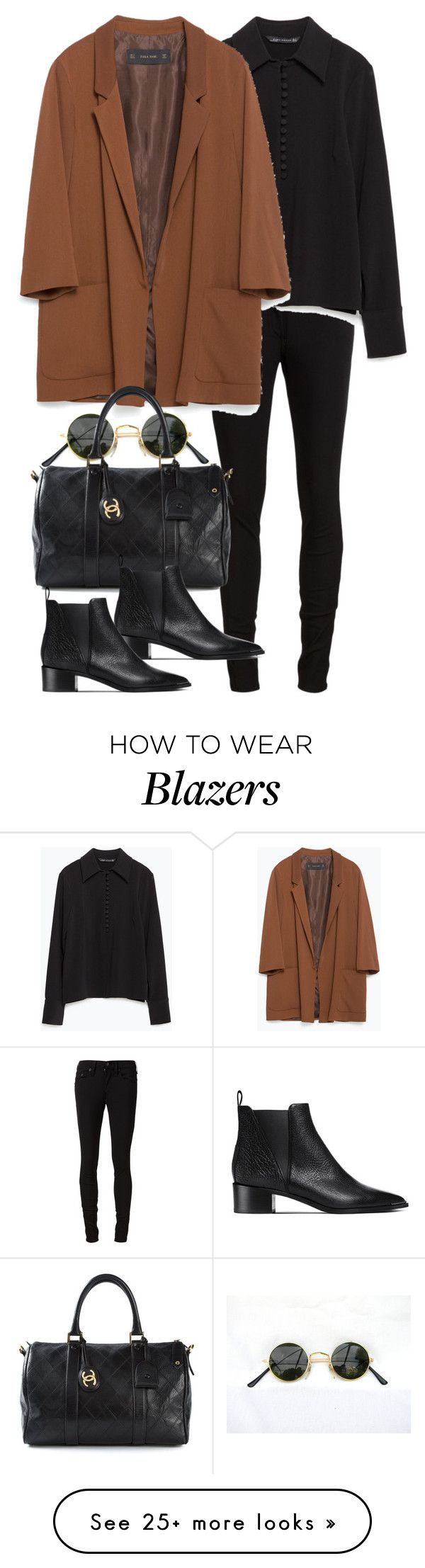 """Untitled #7969"" by nikka-phillips on Polyvore featuring rag & bone/JEAN, Zara, Chanel and Acne Studios"