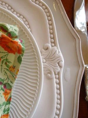 Layering white ironstone dishes