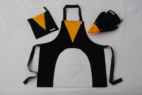 Penguin Apron, Puppet Oven Mitt and Potholder