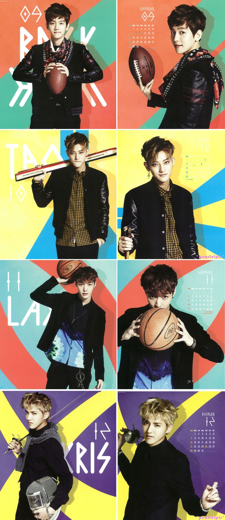Exo 2014 Calendar (3/3) : Baekhyun, Tao, Lay, Kris