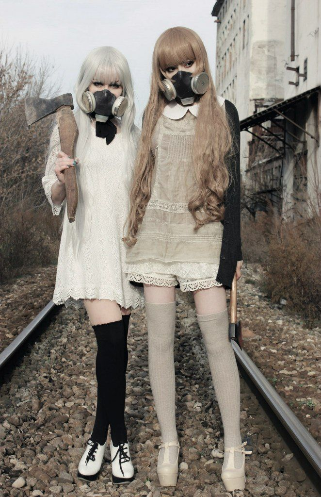 Apocalypse girls. Despite the creepy gas masks, the dresses are actually quite cute.