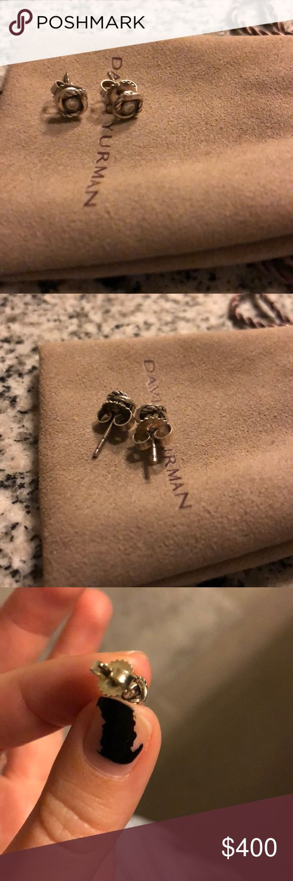 David Yurman Infinity earrings Barely worn but beautiful diamond earrings. Perfect every day studs. Pouch included. Willing to trade for other DY earrings! David Yurman Jewelry Earrings