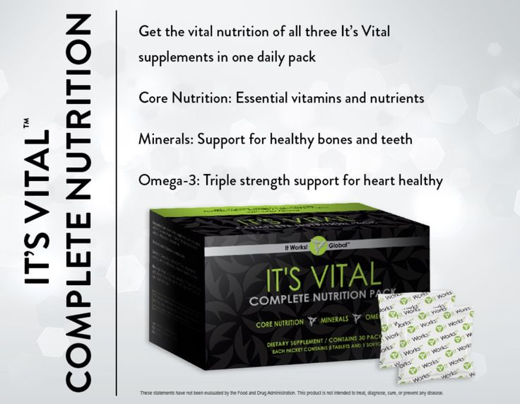 It Works! It's Vital Complete Nutrition Pack: provides you with all of the vital nutrients, superior calcium absorption, and triple strength support for heart health that your body needs in one daily pack. It's Vital Complete Nutrition Pack adds It's Vital™ Minerals and It's Vital™ Omega-3 to the foundational nutrients of It's VitalT™ Core Nutrition for complete, premium nutrition.