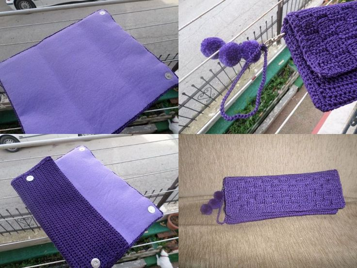 purple clutch bag with magnets and ponpon
