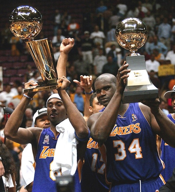Kobe Bryant Shaquille O'Neal NBA Finals MVP NBA Champions Los Angeles Lakers