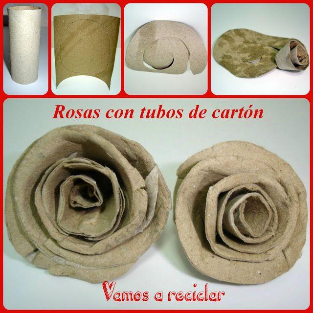 Rosas con tubos de papel higiénico |Enganchada al reciclaje