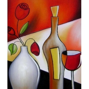 Wine And Rose - Beautiful Still Life Abstract Oil Painting Art on Canvas