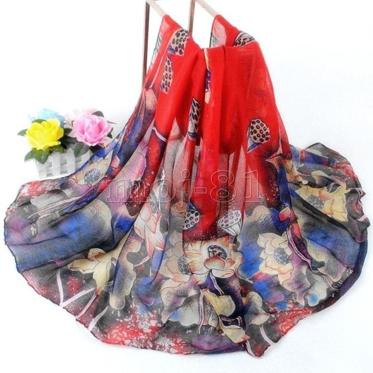Women's Fashion Red Cotton Long Wrap Shawl Beach Scarf Lotus Flowers