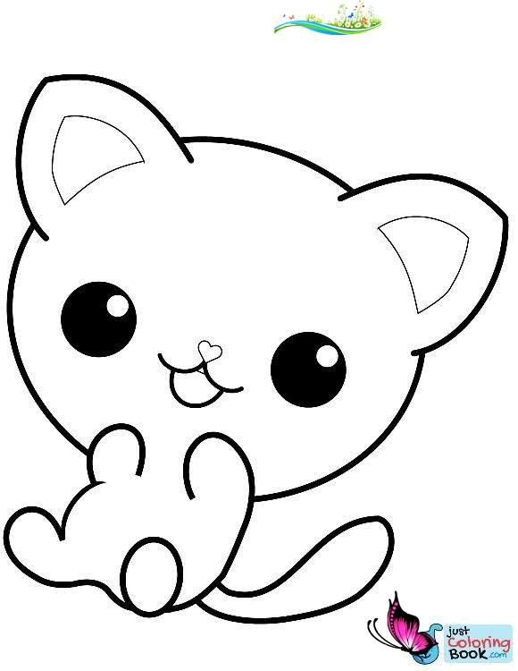 Cute Cat Coloring Pages Kawaii Kitty Coloring Page Br I 2020
