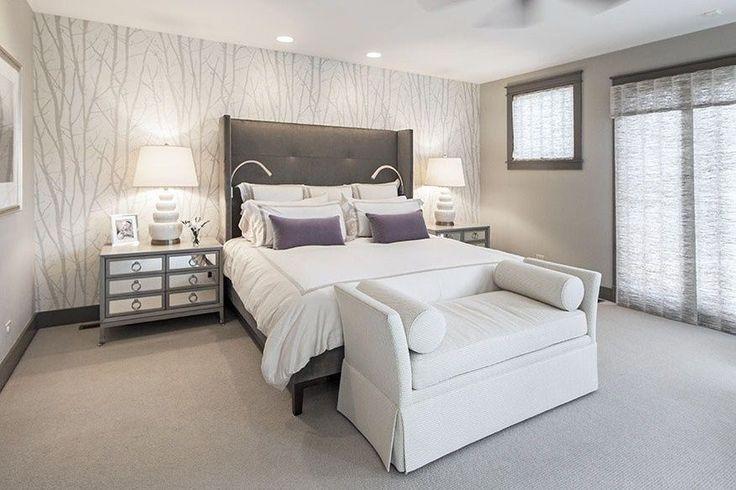 Modern Master Bedroom with Sunpan modern pandora wingback bed, Pasha cape upholstered bench, Carpet, interior wallpaper