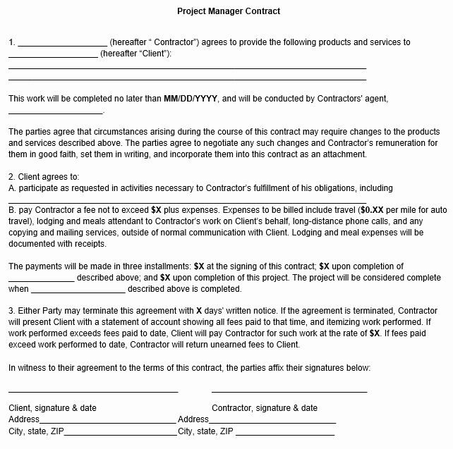Project Management Agreement Template Luxury Project Manager Contract Template Contract Template Project Management Contract