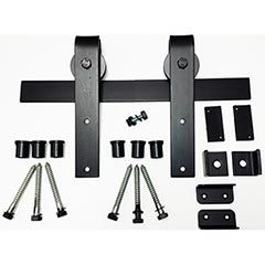 Agave Ironworks [RH001-5] Wrought Iron Rolling Track Barn Door Hardware Kit - Basic Smooth Design - 5' Track