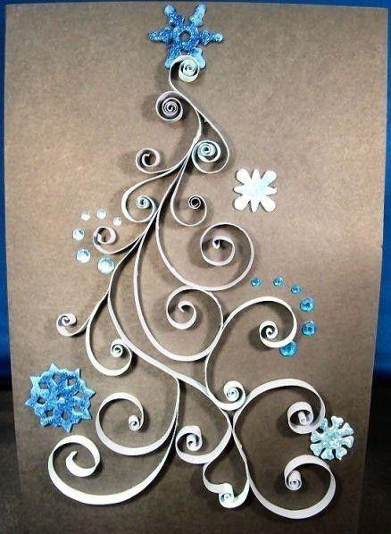 Znalezione obrazy dla zapytania kartki świąteczne quilling