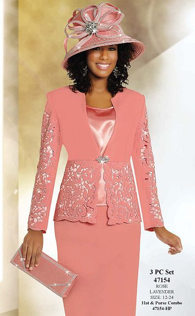Ben Marc International Womens 3pc Cutwork Church Suit 47154