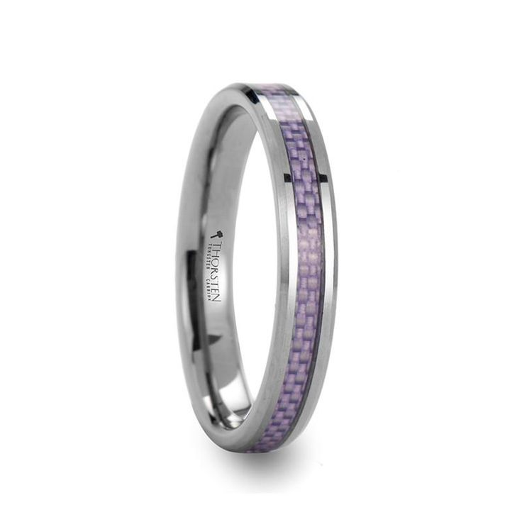 MIRZAM Beveled Tungsten Carbide Ring with Purple Carbon Fiber Inlay | 4mm & 6mm