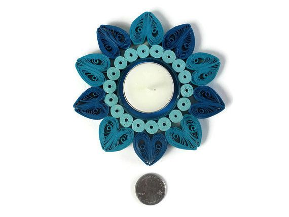 Blue candle holder Quilling tealight candle holder Paper