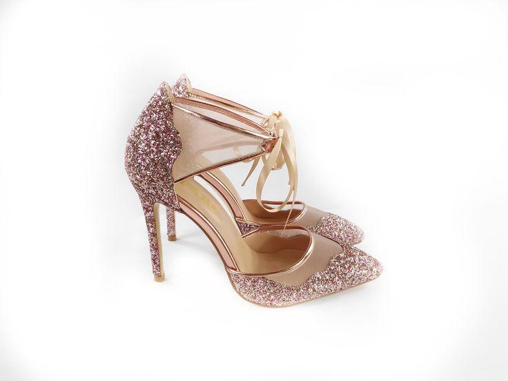 Opari - Rose Gold Wedding shoe with lace tie front!  Www.opari.co.za #weddingshoes #rosegoldshoes