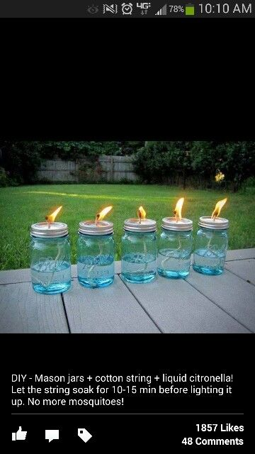 Mosquito repellant mason jar torch