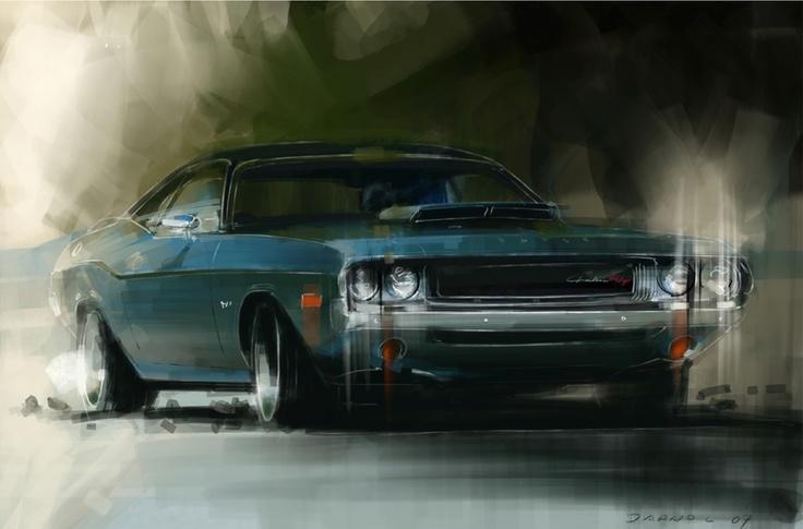 Jarno Lehtinen, Dodge Challenger 1970, painted on Corel Painter w/ Wacom Pen Display, 2007