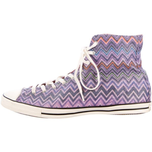 Pre-owned Missoni x Converse Chevron High-Top Sneakers ($65) ❤ liked on Polyvore featuring shoes, sneakers, purple, canvas sneakers, converse shoes, colorful high top sneakers, colorful sneakers and canvas lace up sneakers