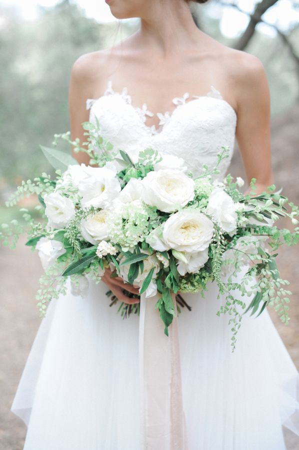 Elegant white peony wedding bouquet: http://www.stylemepretty.com/california-weddings/silverado/2015/11/07/fall-wedding-inspiration-at-rancho-las-lomas/ | Photography: McCune Photography - http://www.mccune-photography.com/