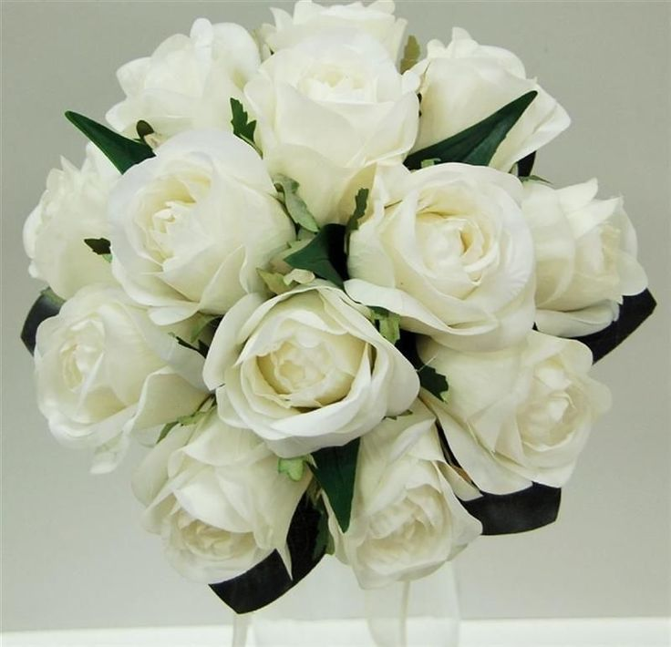 LATEX WEDDING BOUQUET WHITE ROSE POSY FAKE FLOWERS