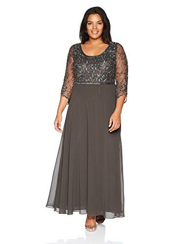 cc912582b10 Chic J Kara Women s Plus Size 3 4 Sleeve V-Neck Beaded Top Long Gown online.    238  shoppingdresses from top store