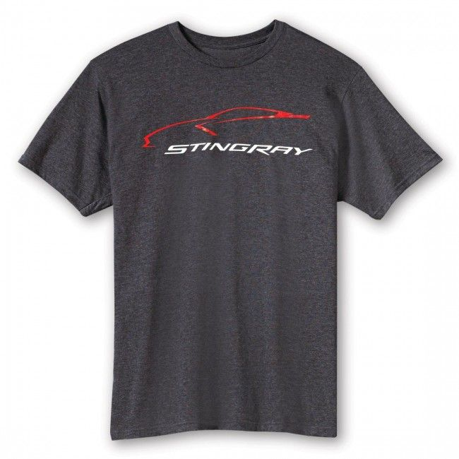 Stingray Car Gesture Tee - Heather Gray  C7 Stingray car gesture logo on the front. Small C7 crossed flags on the back below the neckline. 40% cotton/60% polyester. Imported.  SKU: CG2-MT620