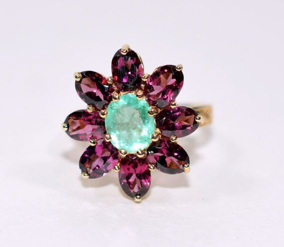 30% OFF SALE with free resizing!! Exquisite 3tcw Colombian Emerald & African Amethyst 10kt Yellow Gold Ring