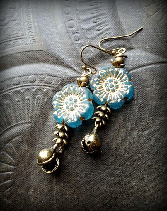 $34 - Flowers, Petals, Leaves, Brass Earrings, Flower Jewelry, Earthy, Organic, Urban, Beaded Earrings